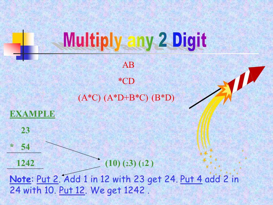 AB *CD (A*C) (A*D+B*C) (B*D) EXAMPLE 23 * 54 1242 (10) ( 2 3) ( 1 2 ) Note: Put 2.