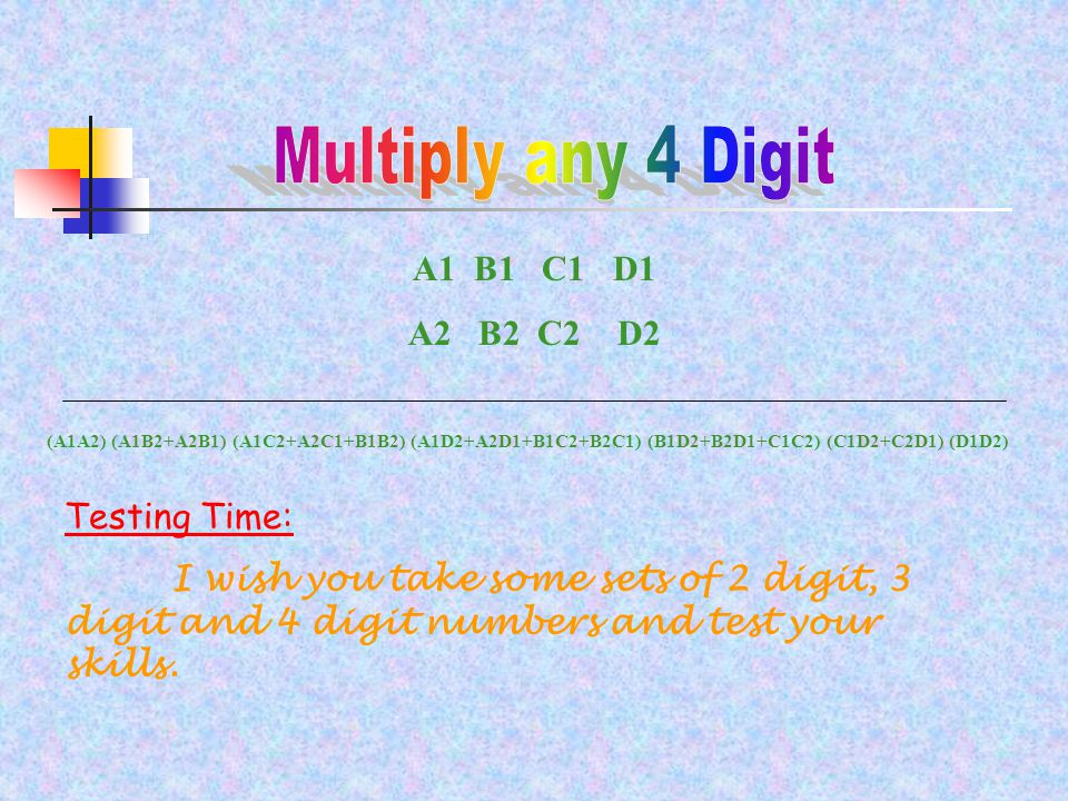 Don't you feel multiplication is easier now.You may now feel very tired of multiplying numbers.