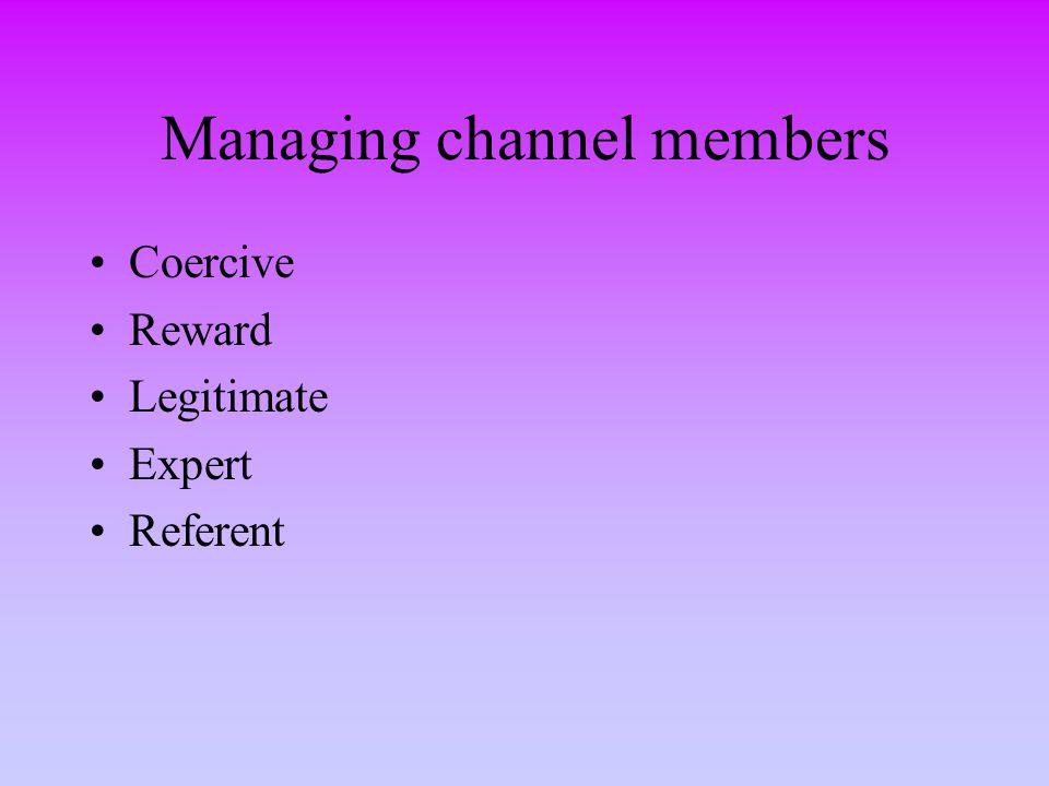 Managing channel members Coercive Reward Legitimate Expert Referent
