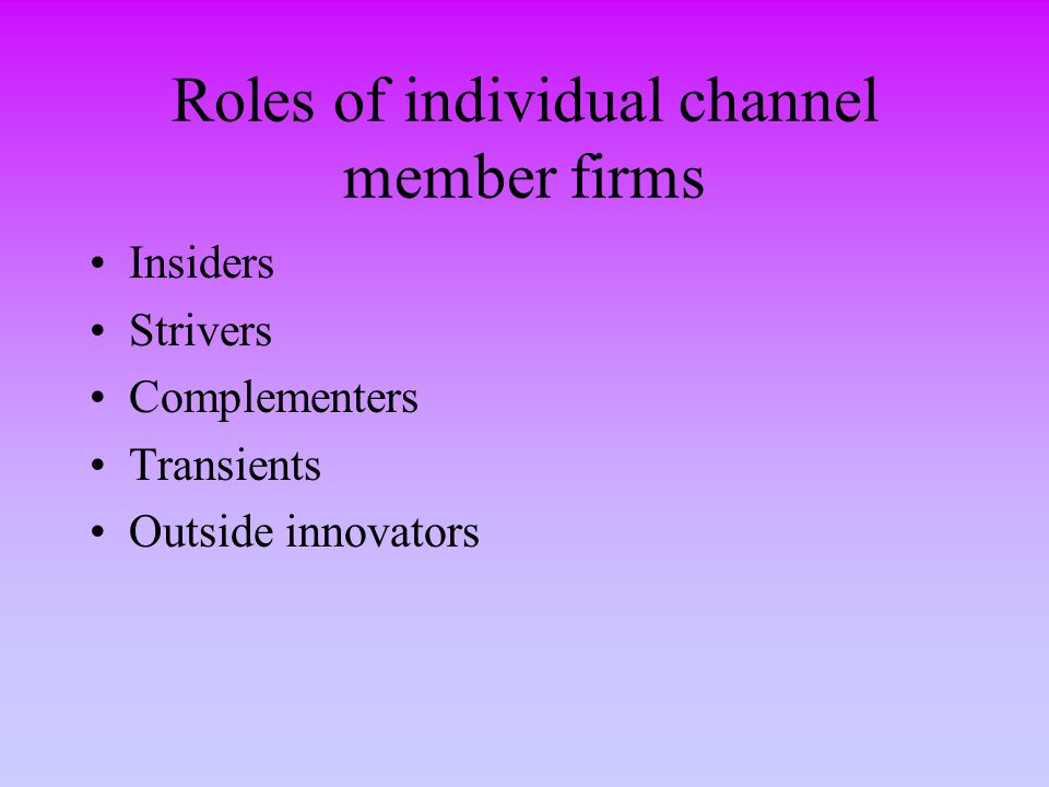 Roles of individual channel member firms Insiders Strivers Complementers Transients Outside innovators