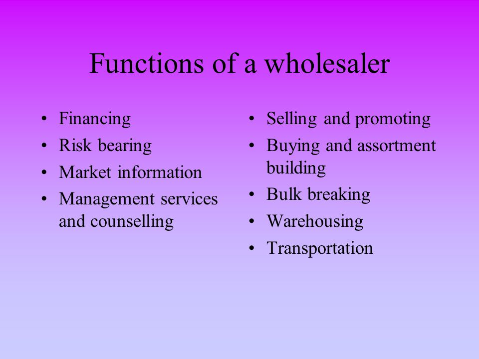 Functions of a wholesaler Financing Risk bearing Market information Management services and counselling Selling and promoting Buying and assortment bu