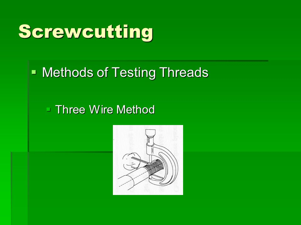 Screwcutting  Methods of Testing Threads  Three Wire Method