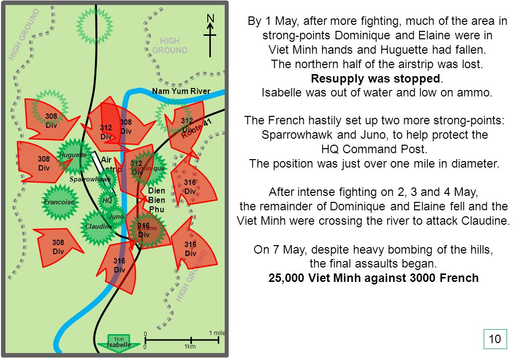 THIS SLIDE AND PRESENTATION WAS PREPARED BY DAVE SABBEN WHO RETAINS COPYRIGHT © ON CREATIVE CONTENT Nam Yum River Route 41 N Dien Bien Phu 0 0 1 mile 1km HIGH GROUND HIGH GROUND After intense fighting on 2, 3 and 4 May, the remainder of Dominique and Elaine fell and the Viet Minh were crossing the river to attack Claudine.