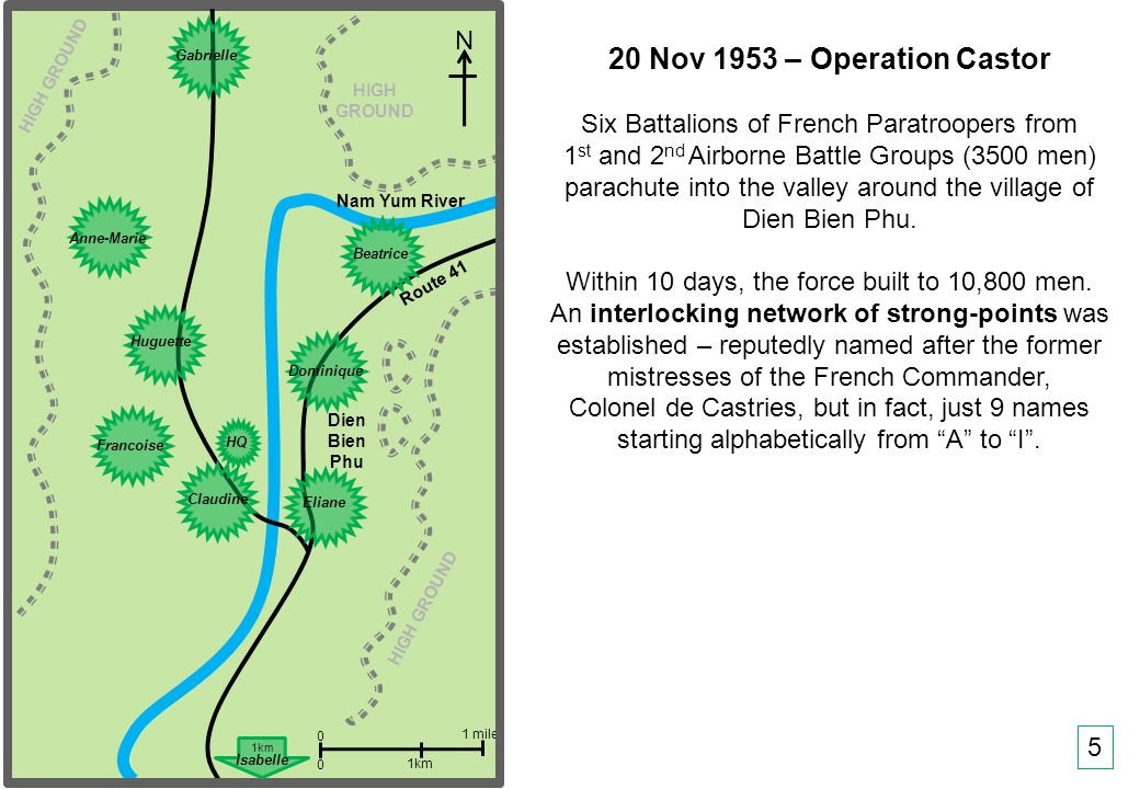 THIS SLIDE AND PRESENTATION WAS PREPARED BY DAVE SABBEN WHO RETAINS COPYRIGHT © ON CREATIVE CONTENT Nam Yum River Route 41 N Dien Bien Phu 0 0 1 mile 1km HIGH GROUND HIGH GROUND 20 Nov 1953 – Operation Castor Six Battalions of French Paratroopers from 1 st and 2 nd Airborne Battle Groups (3500 men) parachute into the valley around the village of Dien Bien Phu.