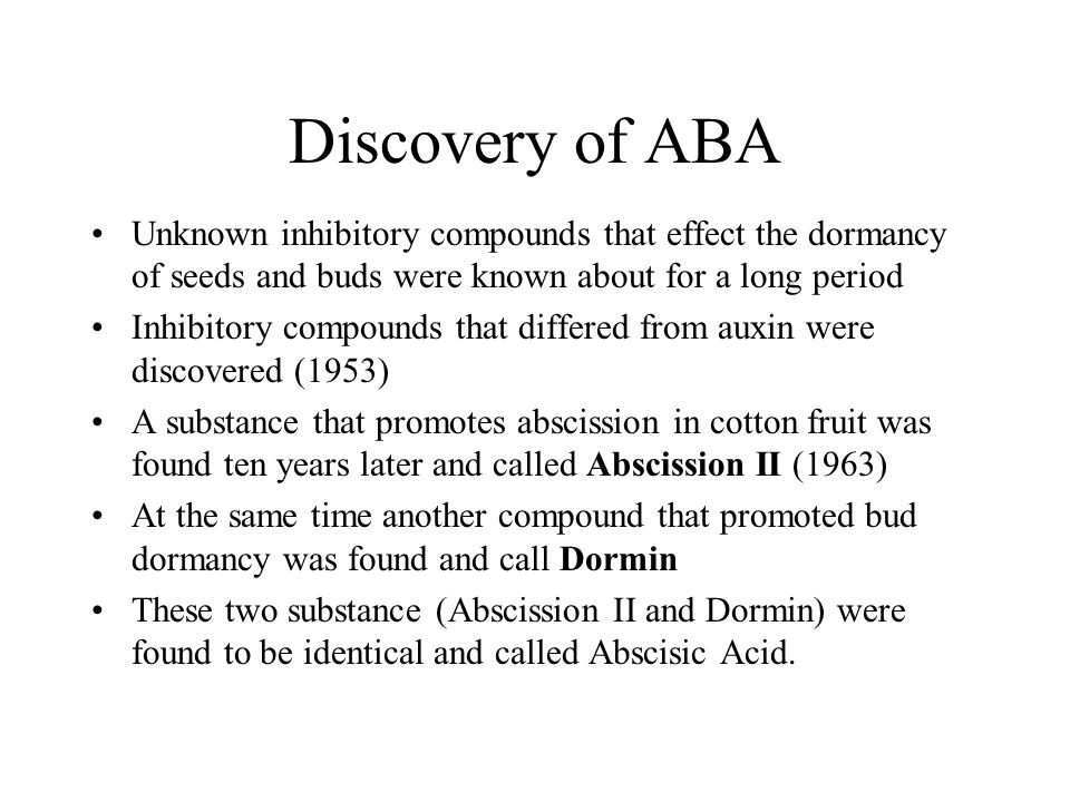 Discovery of ABA Unknown inhibitory compounds that effect the dormancy of seeds and buds were known about for a long period Inhibitory compounds that
