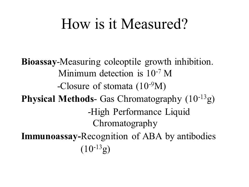 How is it Measured.Bioassay-Measuring coleoptile growth inhibition.
