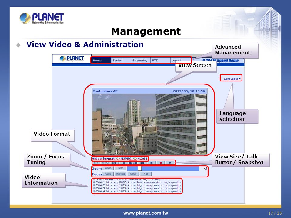 17 / 25 Management  View Video & Administration View Screen Video Format View Size/ Talk Button/ Snapshot Advanced Management Video Information Video Information Zoom / Focus Tuning Language selection