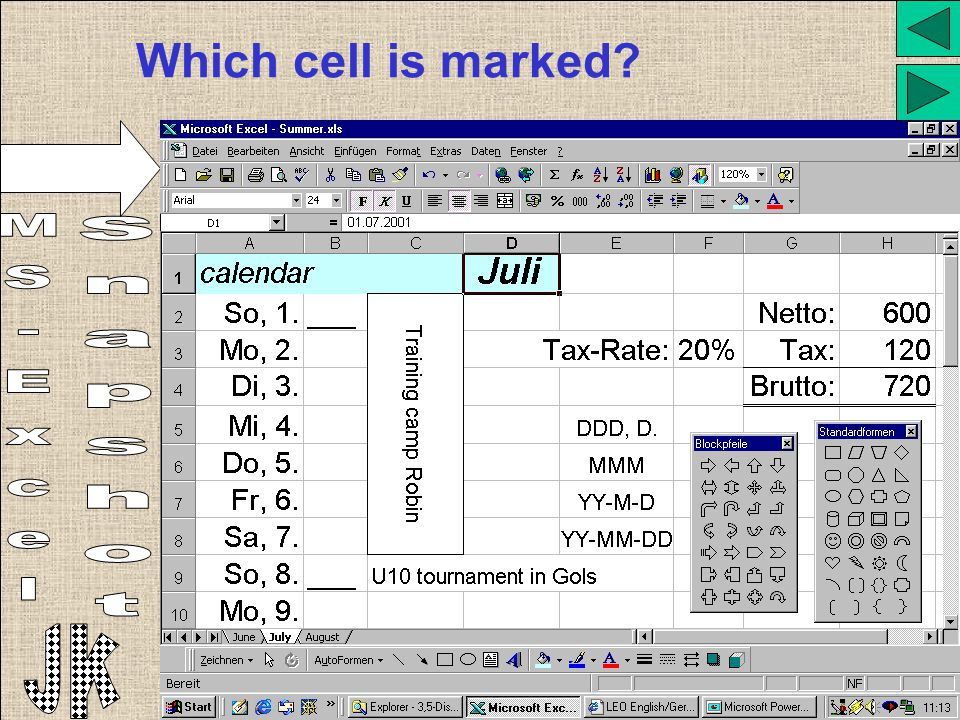 Which cell is marked