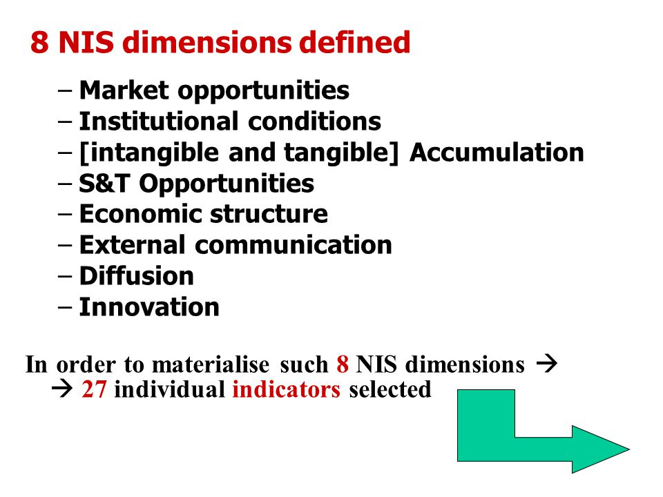 8 NIS dimensions defined –Market opportunities –Institutional conditions –[intangible and tangible] Accumulation –S&T Opportunities –Economic structure –External communication –Diffusion –Innovation In order to materialise such 8 NIS dimensions   27 individual indicators selected