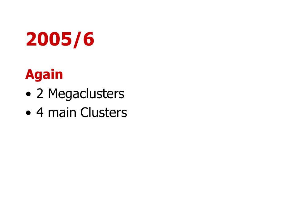 2005/6 Again 2 Megaclusters 4 main Clusters