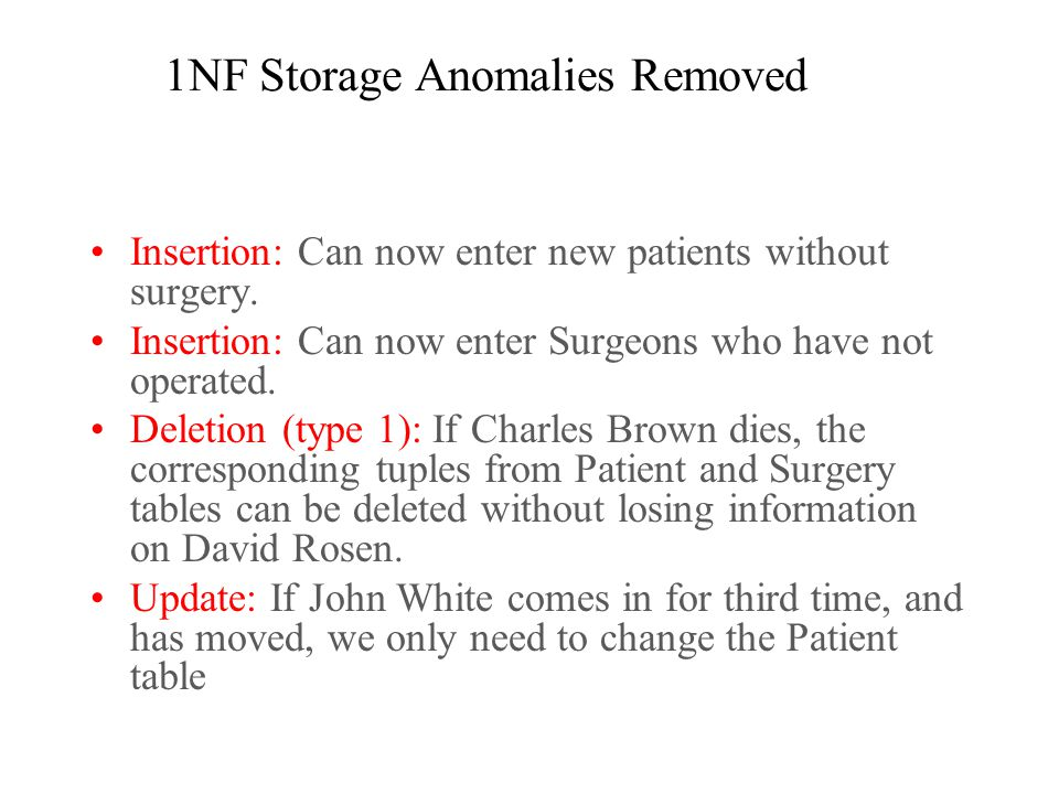 1NF Storage Anomalies Removed Insertion: Can now enter new patients without surgery.