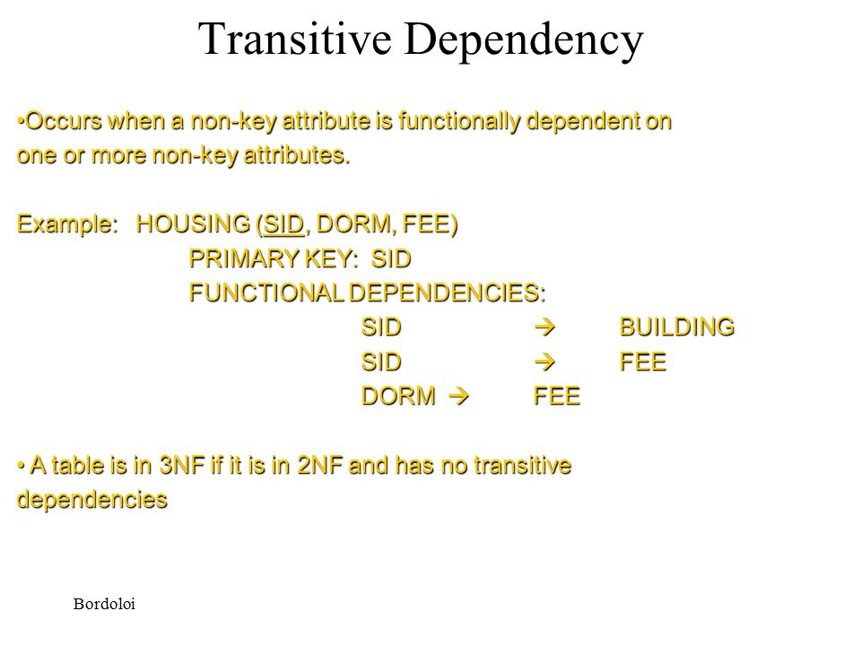 Bordoloi Transitive Dependency Occurs when a non-key attribute is functionally dependent onOccurs when a non-key attribute is functionally dependent on one or more non-key attributes.