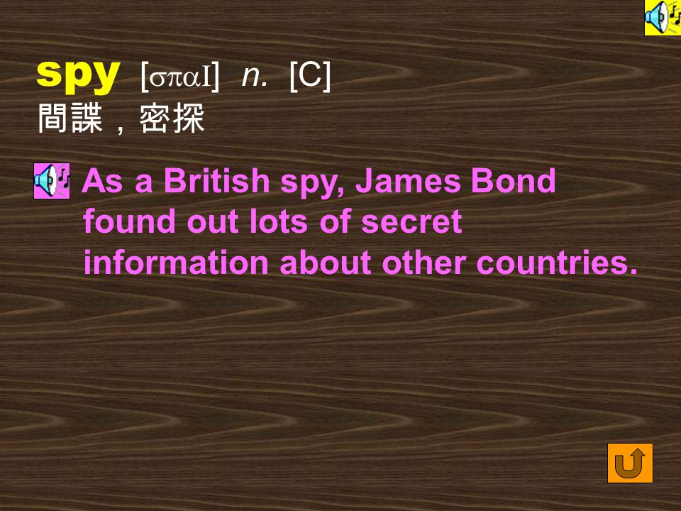 Words for Production 11. spy [ spaI ] vt.