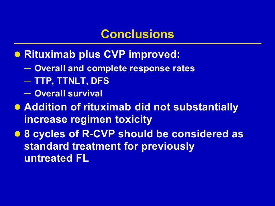 Conclusions Rituximab plus CVP improved: ─ Overall and complete response rates ─ TTP, TTNLT, DFS ─ Overall survival Addition of rituximab did not subs