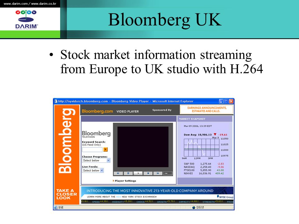Bloomberg UK Stock market information streaming from Europe to UK studio with H.264