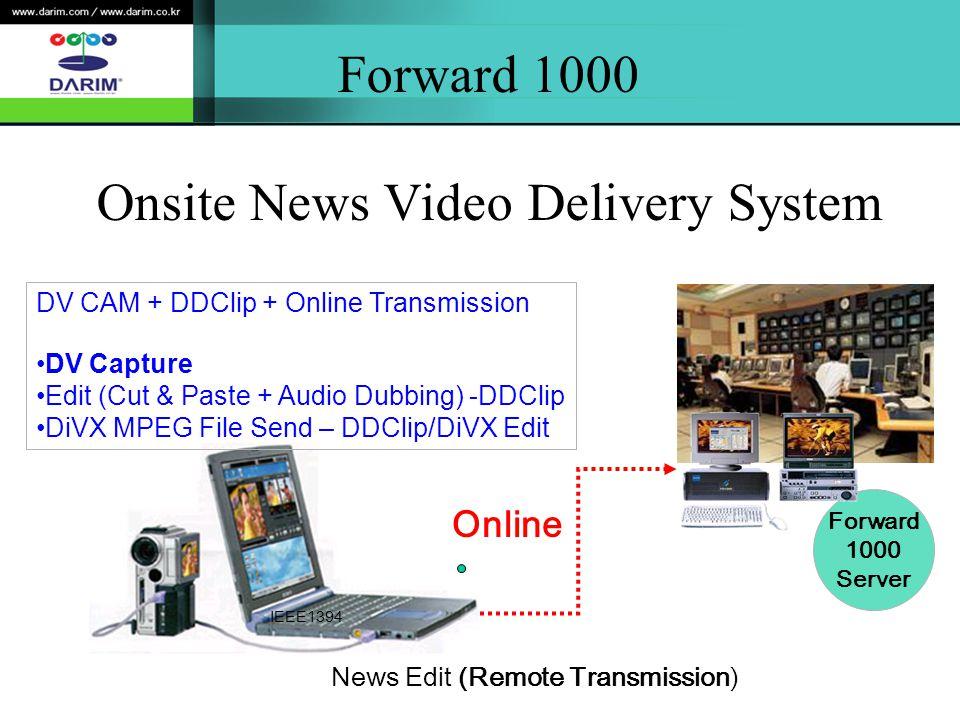 Forward 1000 Onsite News Video Delivery System News Edit (Remote Transmission) Forward 1000 Server DV CAM + DDClip + Online Transmission DV Capture Edit (Cut & Paste + Audio Dubbing) -DDClip DiVX MPEG File Send – DDClip/DiVX Edit IEEE1394 Online