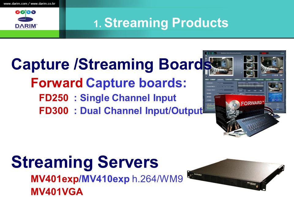 Capture /Streaming Boards Forward Capture boards: FD250 : Single Channel Input FD300 : Dual Channel Input/Output Streaming Servers MV401exp/MV410exp h.264/WM9 MV401VGA 1.