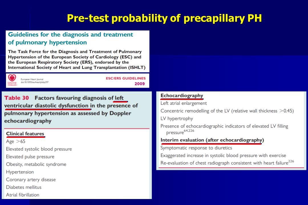 Pre-test probability of precapillary PH 2009