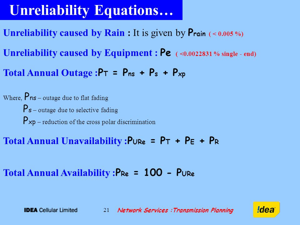 Network Services :Transmission Planning 21 Unreliability Equations… Unreliability caused by Rain : It is given by P rain ( < %) Unreliability caused by Equipment : Pe ( < % single - end) Total Annual Outage : P T = P ns + P s + P xp Where, P ns – outage due to flat fading P s – outage due to selective fading P xp – reduction of the cross polar discrimination Total Annual Unavailability : P URe = P T + P E + P R Total Annual Availability : P Re = P URe