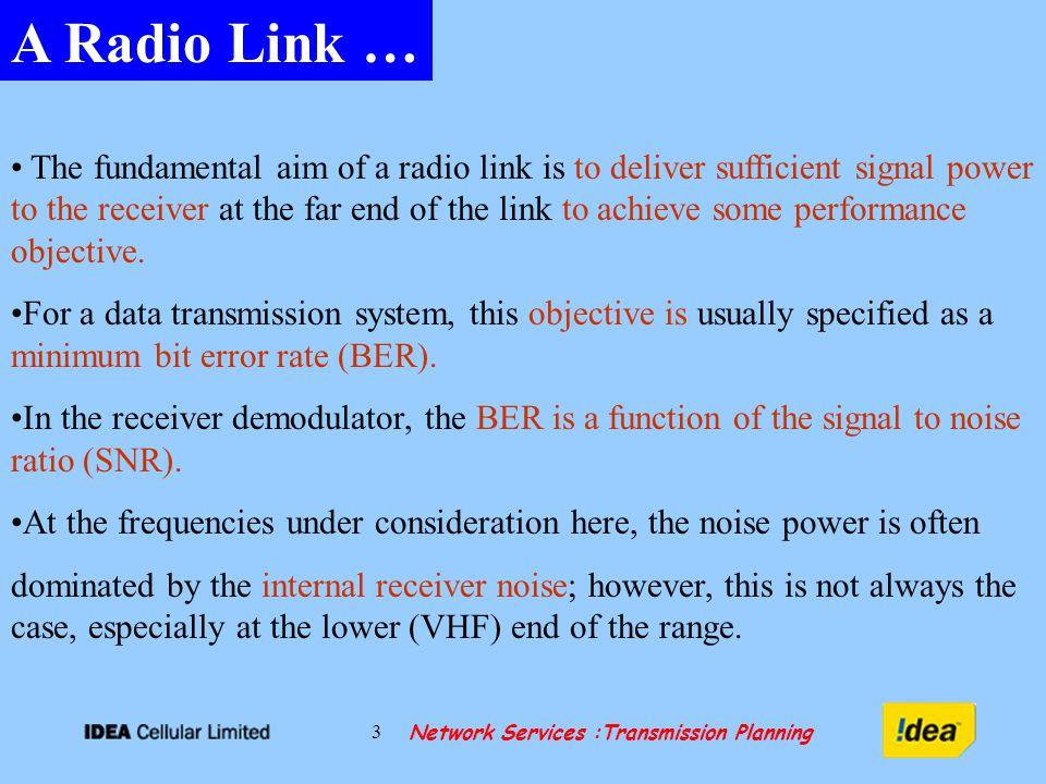 Network Services :Transmission Planning 24 RADIO RELAY LINK… Branching Loss Tx/Rx FSL + G t + G r - L t - L r PtPt RxRx Atmospheric Loss MUX 16 E1s / 63 E1s 34.4 Mbps/155.52 Mbps Access / Backbone