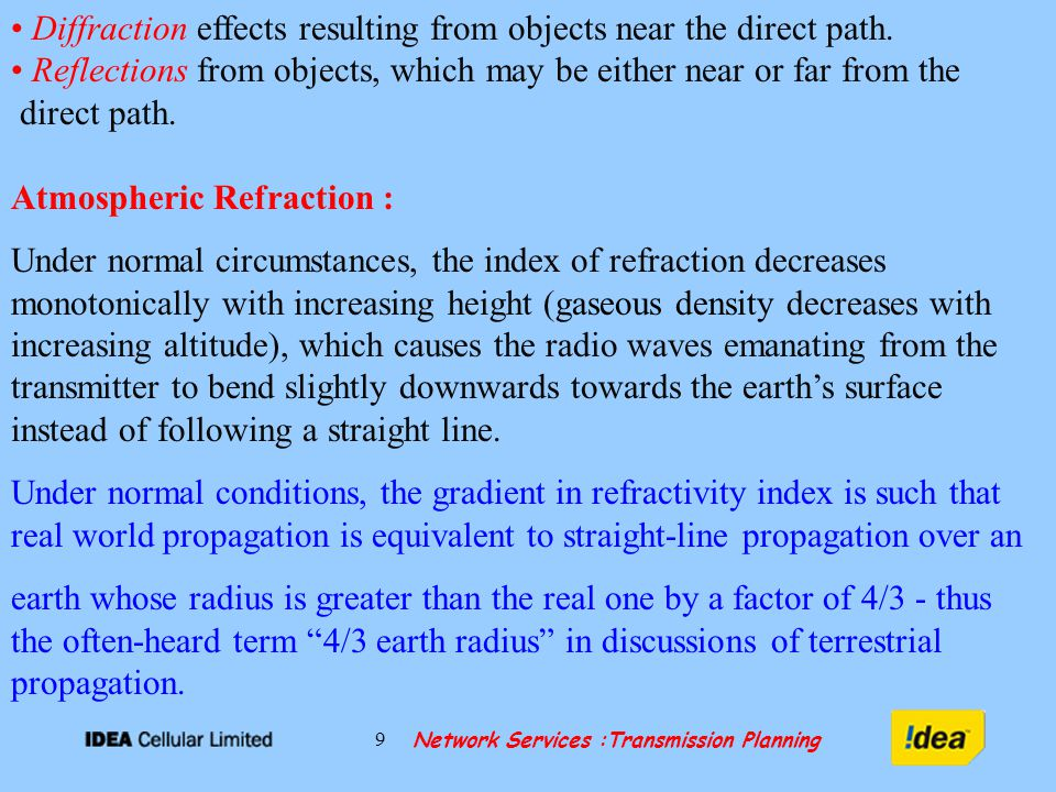 Network Services :Transmission Planning 9 Diffraction effects resulting from objects near the direct path.