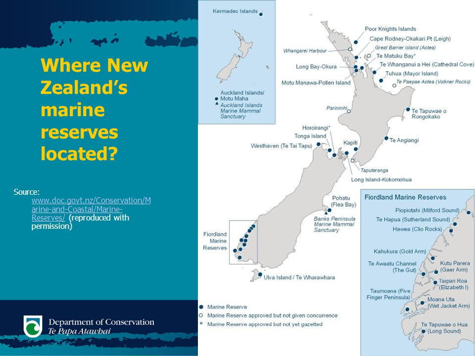Where New Zealand's marine reserves located.