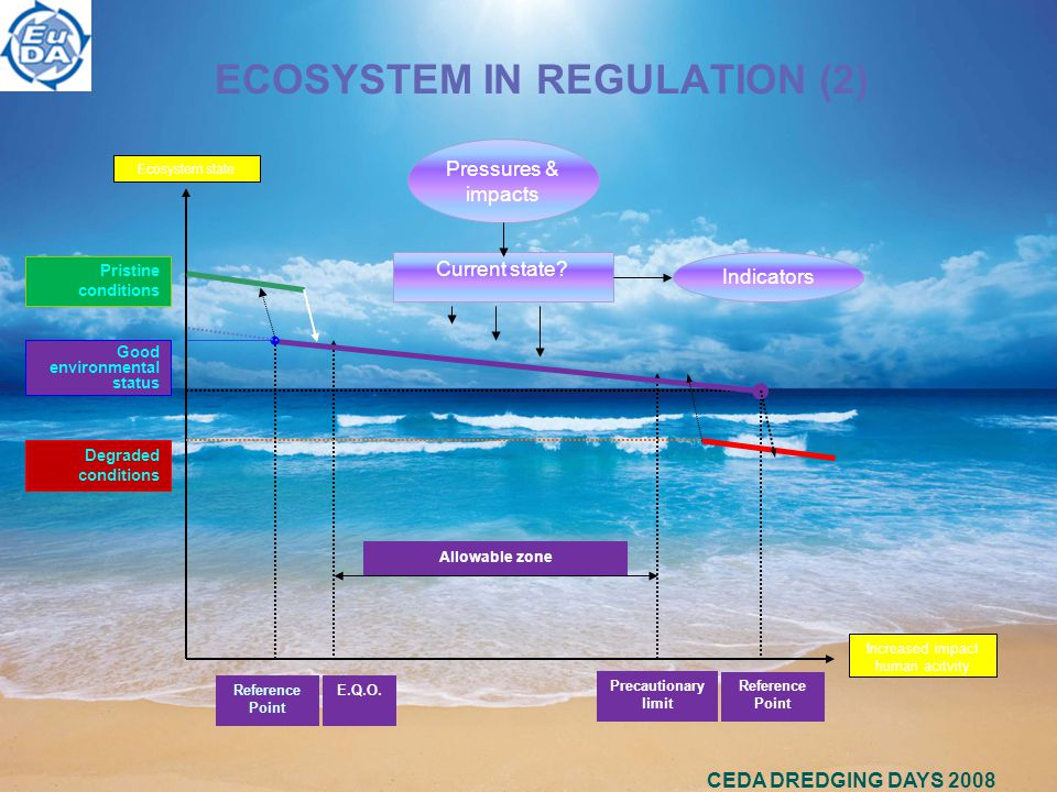 CEDA DREDGING DAYS 2008 ECOSYSTEM IN REGULATION (2) Increased impact human acitvity Ecosystem state Pristine conditions Good environmental status Degraded conditions Reference Point E.Q.O.