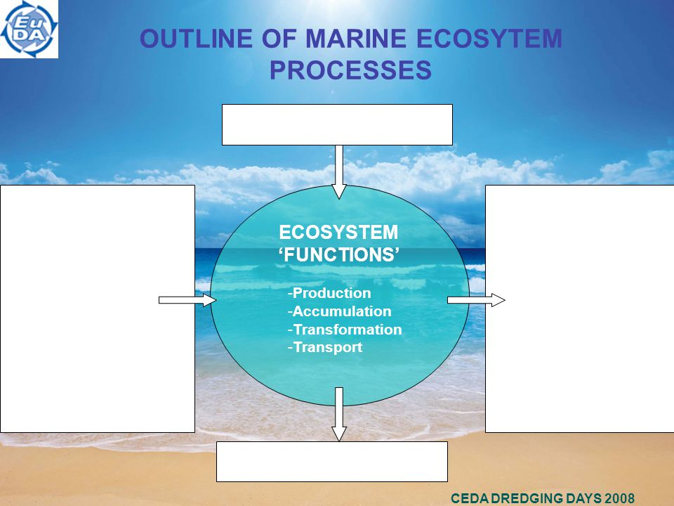 CEDA DREDGING DAYS 2008 OUTLINE OF MARINE ECOSYTEM PROCESSES INPUT - Energy - Water - Nutrients - Sediments - Matter - Migratory species - C / CO 2 ECOSYSTEM 'FUNCTIONS' -Production -Accumulation -Transformation -Transport OUTPUT - Energy - Water - Nutrients - Sediments - Matter - Migratory species - C / CO 2 Impacts and pressures Products and services