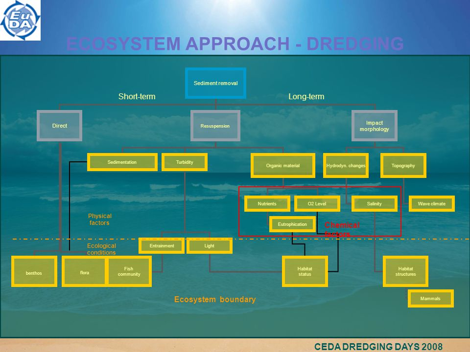 CEDA DREDGING DAYS 2008 ECOSYSTEM APPROACH - DREDGING Sediment removal Direct Resuspension Impact morphology benthos flora SedimentationTurbidity Organic material EntrainmentLight Fish community Habitat status NutrientsO2 Level Eutrophication Hydrodyn.