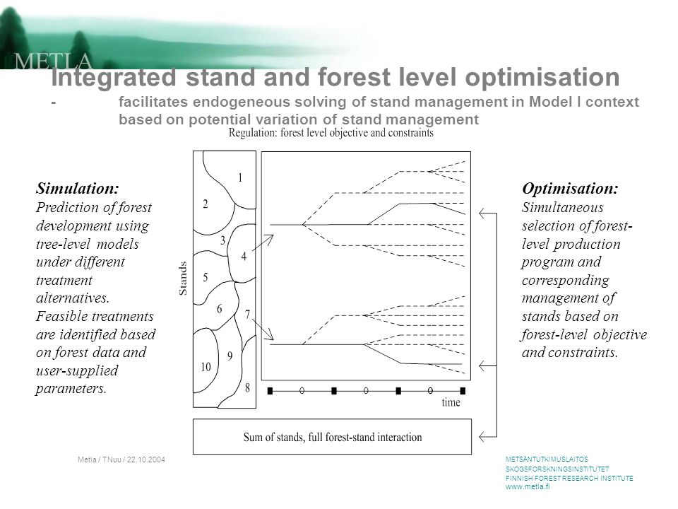 METSÄNTUTKIMUSLAITOS SKOGSFORSKNINGSINSTITUTET FINNISH FOREST RESEARCH INSTITUTE www.metla.fi Metla / TNuu / 22.10.2004 Integrated stand and forest level optimisation  The potential range of management over space (in stands) and in time is compiled into the input data of optimisation as management schedules.