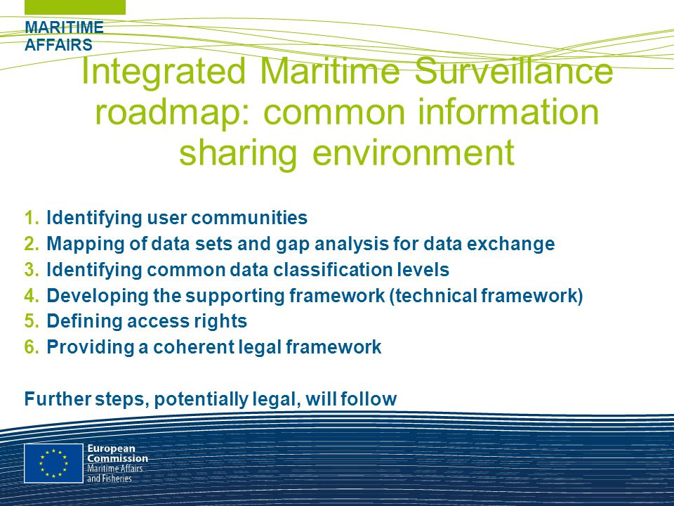 MARITIME AFFAIRS Integrated Maritime Surveillance roadmap: common information sharing environment 1.Identifying user communities 2.Mapping of data sets and gap analysis for data exchange 3.Identifying common data classification levels 4.Developing the supporting framework (technical framework) 5.Defining access rights 6.Providing a coherent legal framework Further steps, potentially legal, will follow