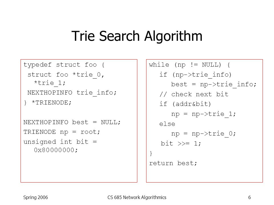 Spring 2006CS 685 Network Algorithmics6 Trie Search Algorithm typedef struct foo { struct foo *trie_0, *trie_1; NEXTHOPINFO trie_info; } *TRIENODE; NEXTHOPINFO best = NULL; TRIENODE np = root; unsigned int bit = 0x80000000; while (np != NULL) { if (np->trie_info) best = np->trie_info; // check next bit if (addr&bit) np = np->trie_1; else np = np->trie_0; bit >>= 1; } return best;