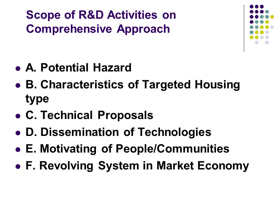 Scope of R&D Activities on Comprehensive Approach A. Potential Hazard B. Characteristics of Targeted Housing type C. Technical Proposals D. Disseminat