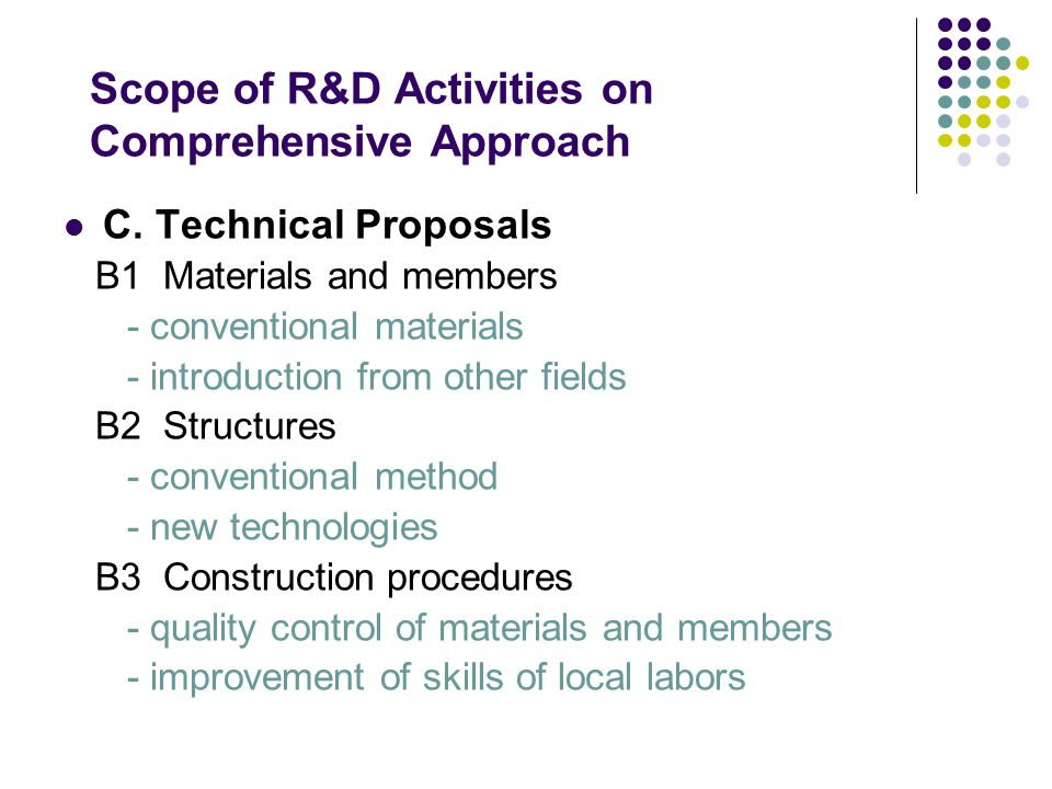 Scope of R&D Activities on Comprehensive Approach C. Technical Proposals B1 Materials and members - conventional materials - introduction from other f