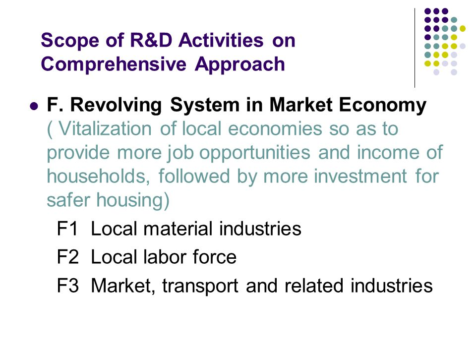 Scope of R&D Activities on Comprehensive Approach F. Revolving System in Market Economy ( Vitalization of local economies so as to provide more job op