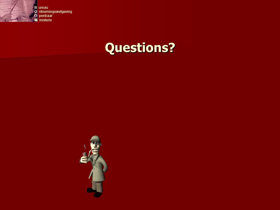 B ureau O ntnemingswetgeving O penbaar M inisterie Questions