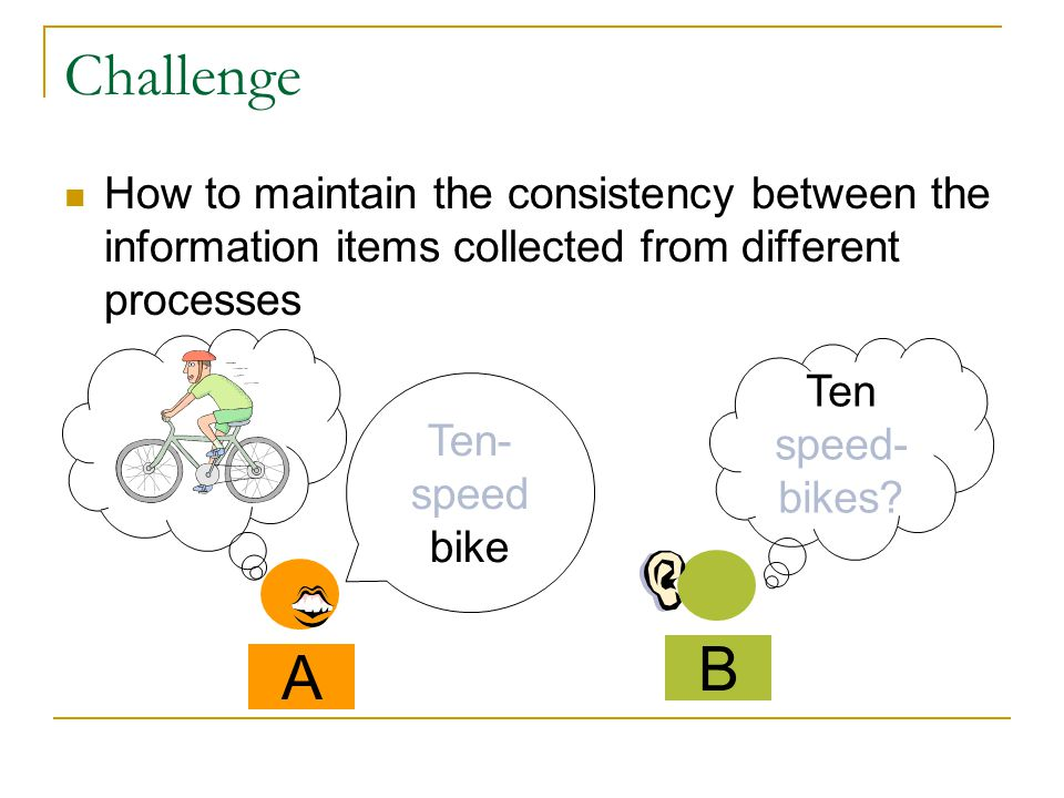 Challenge How to maintain the consistency between the information items collected from different processes A Ten- speed bike B Ten speed- bikes?