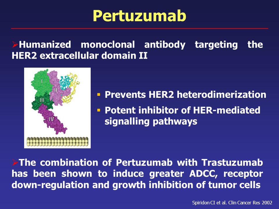 Pertuzumab  Humanized monoclonal antibody targeting the HER2 extracellular domain II  The combination of Pertuzumab with Trastuzumab has been shown