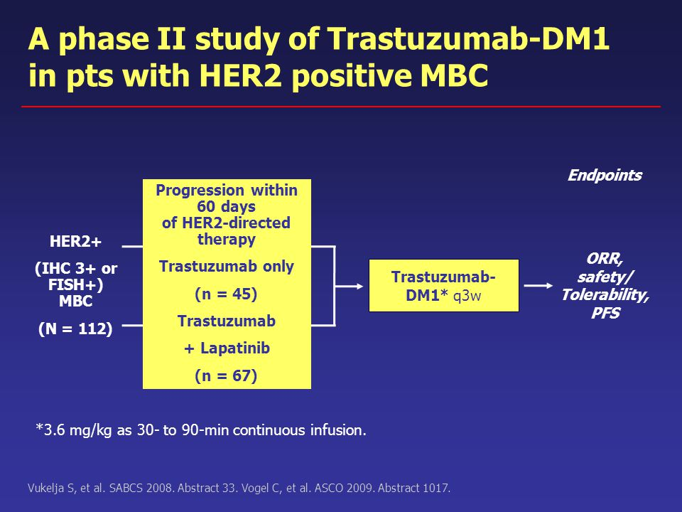 Trastuzumab- DM1* q3w ORR, safety/ Tolerability, PFS *3.6 mg/kg as 30- to 90-min continuous infusion. Vukelja S, et al. SABCS 2008. Abstract 33. Vogel