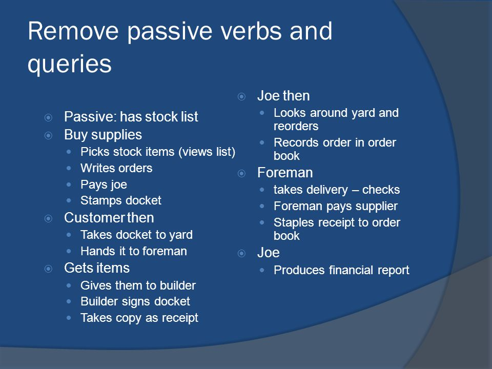 Remove passive verbs and queries  Passive: has stock list  Buy supplies Picks stock items (views list) Writes orders Pays joe Stamps docket  Customer then Takes docket to yard Hands it to foreman  Gets items Gives them to builder Builder signs docket Takes copy as receipt  Joe then Looks around yard and reorders Records order in order book  Foreman takes delivery – checks Foreman pays supplier Staples receipt to order book  Joe Produces financial report