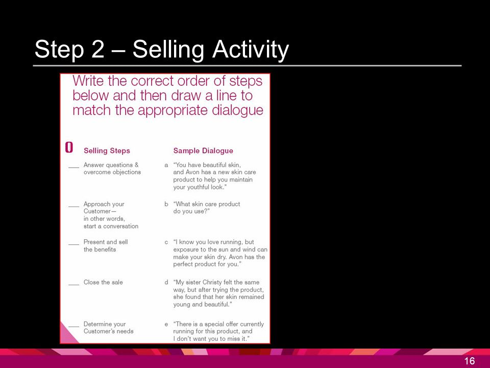 16 Step 2 – Selling Activity