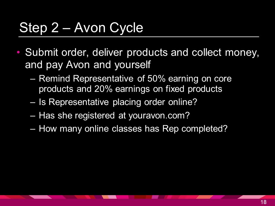 18 Step 2 – Avon Cycle Submit order, deliver products and collect money, and pay Avon and yourself –Remind Representative of 50% earning on core produ