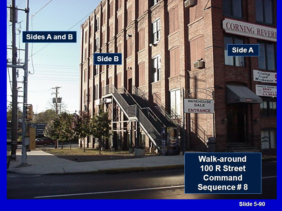 Slide 5-90 Side B Side A Sides A and B Walk-around 100 R Street Command Sequence # 8