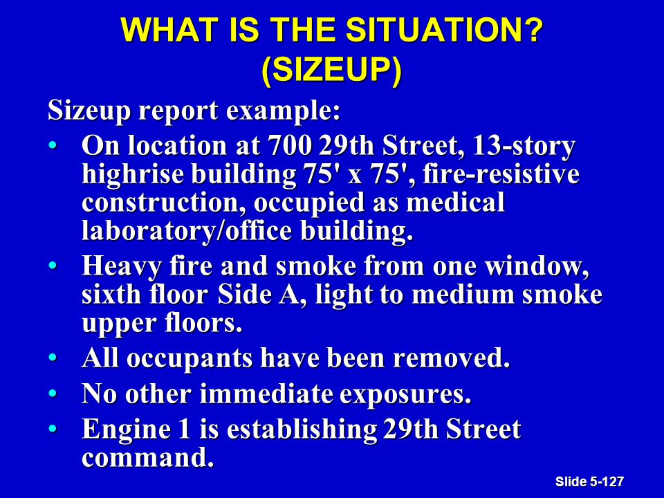 Slide 5-127 WHAT IS THE SITUATION.