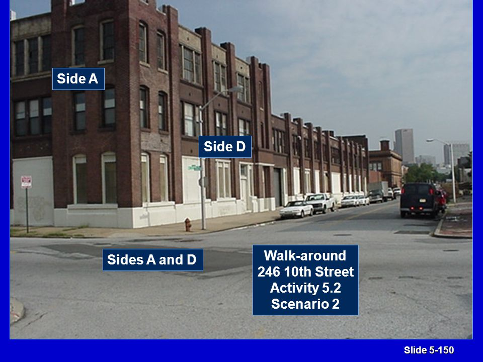 Slide 5-150 Sides A and D Side A Side D Walk-around 246 10th Street Activity 5.2 Scenario 2