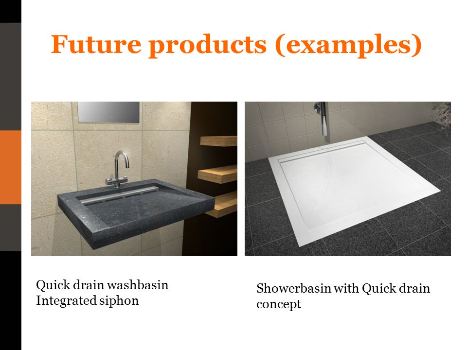 Future products (examples) Quick drain washbasin Integrated siphon Showerbasin with Quick drain concept