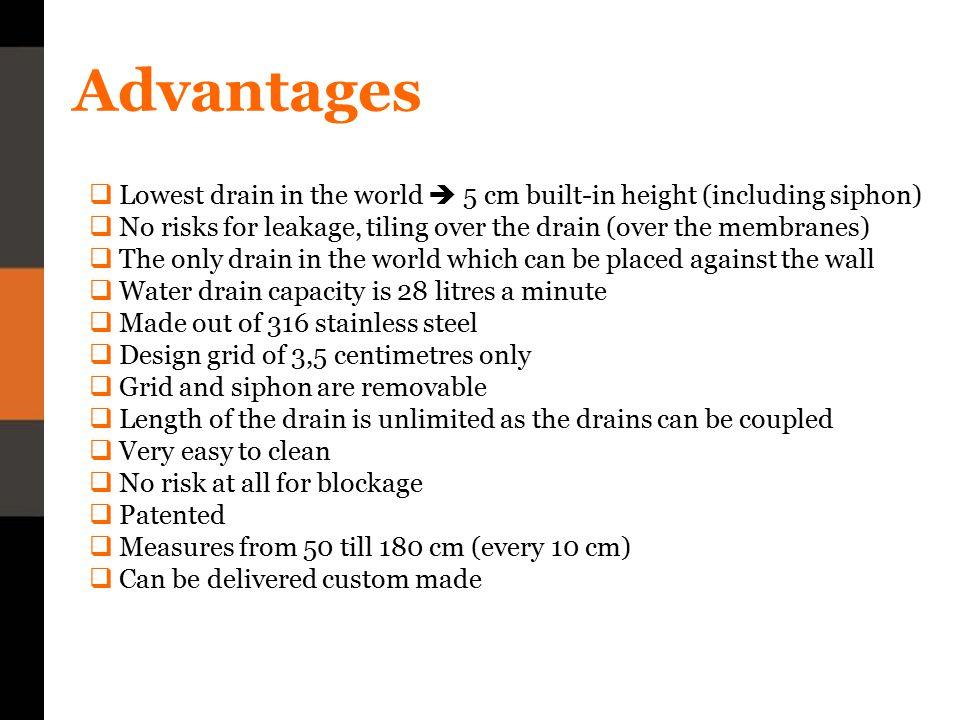 Models 1)Door drain 2) Wall drain 3) 45° drain 4) Cornerdrain
