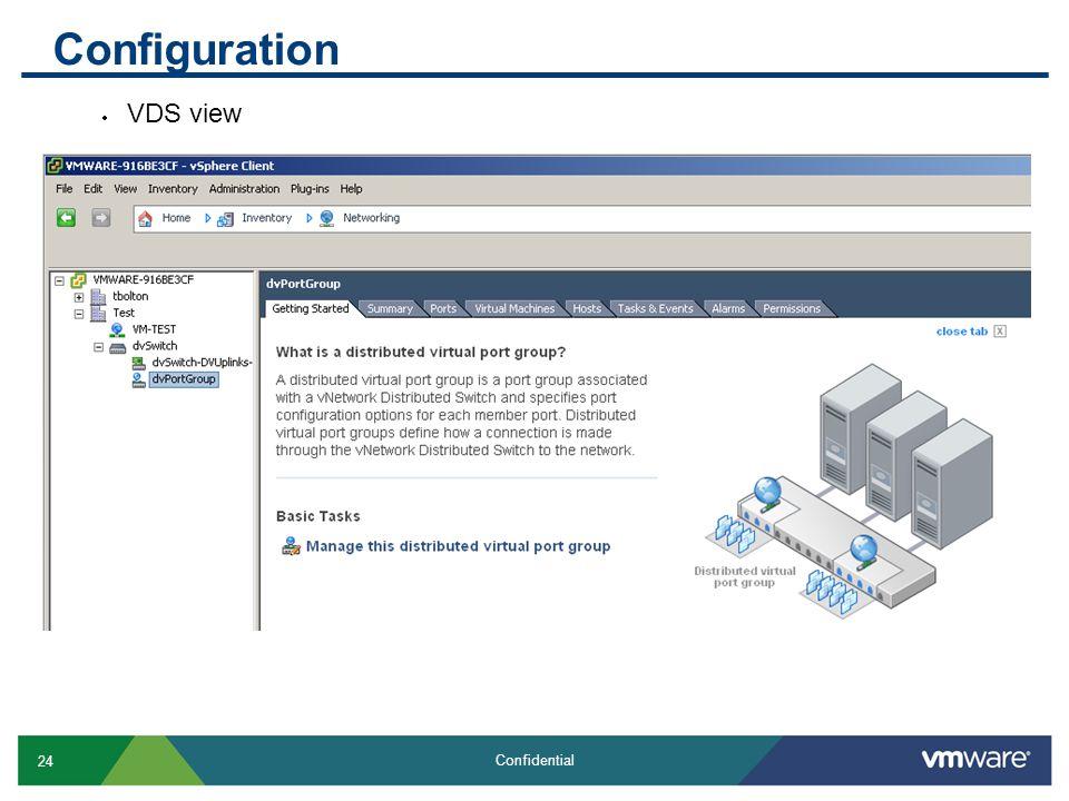 24 Confidential Configuration  VDS view