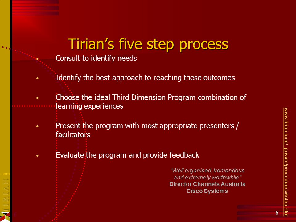 6 6 Tirian's five step process Consult to identify needs Identify the best approach to reaching these outcomes Choose the ideal Third Dimension Progra
