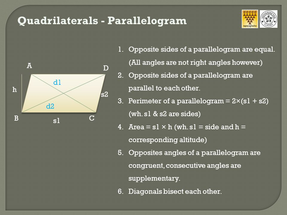 Quadrilaterals - Trapezium 1.A quadrilateral which has at least one pair of parallel sides.